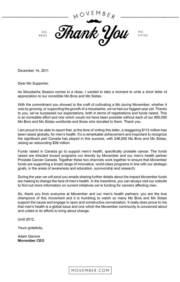 Movember Canada  News  A Letter Of Thanks